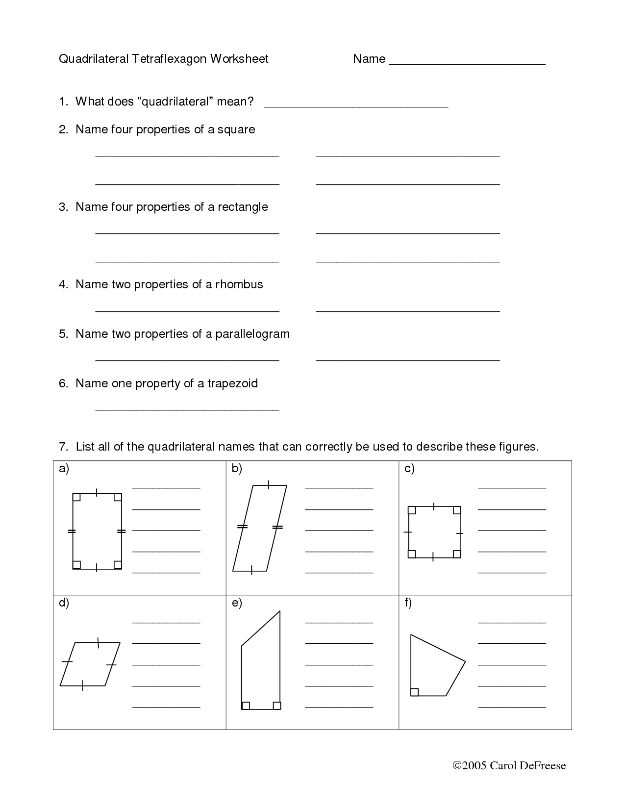 12 Best Images Of Properties Of Plane Figures Worksheet