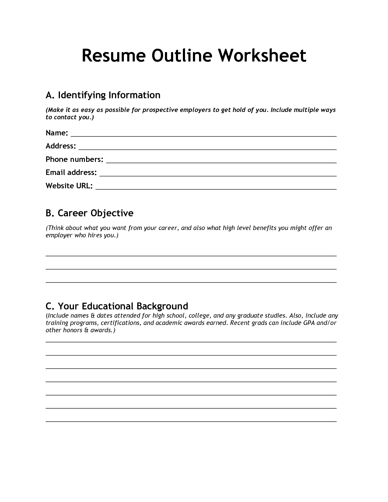 Blank Resume Worksheet