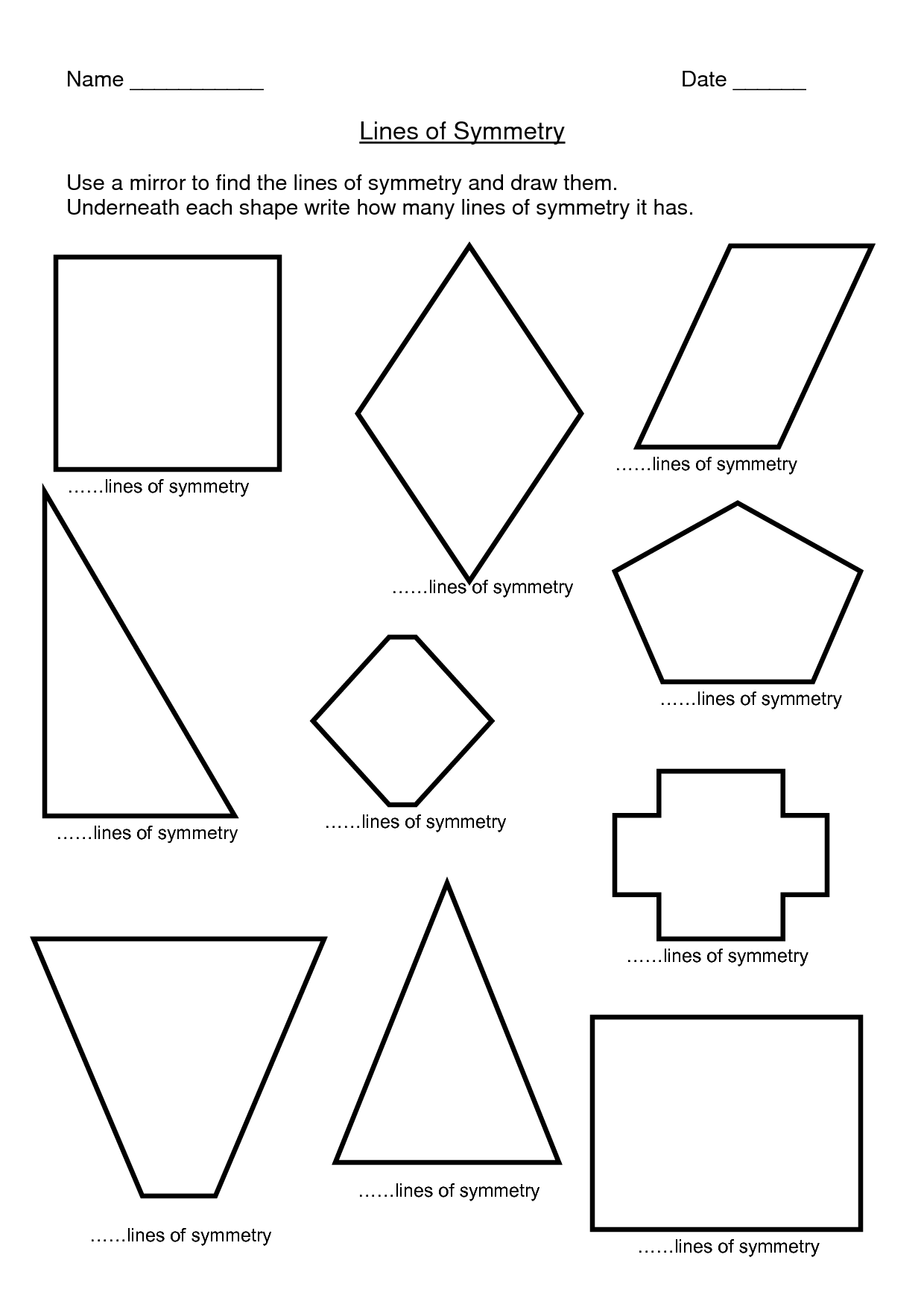 8 Best Images Of 2 Lines Of Symmetry Worksheets