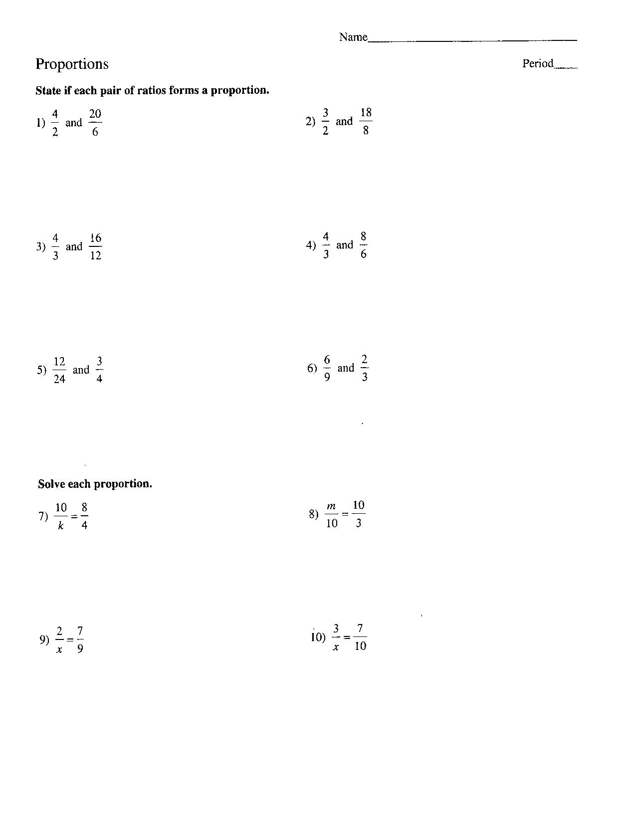 Proportions Problems Worksheet