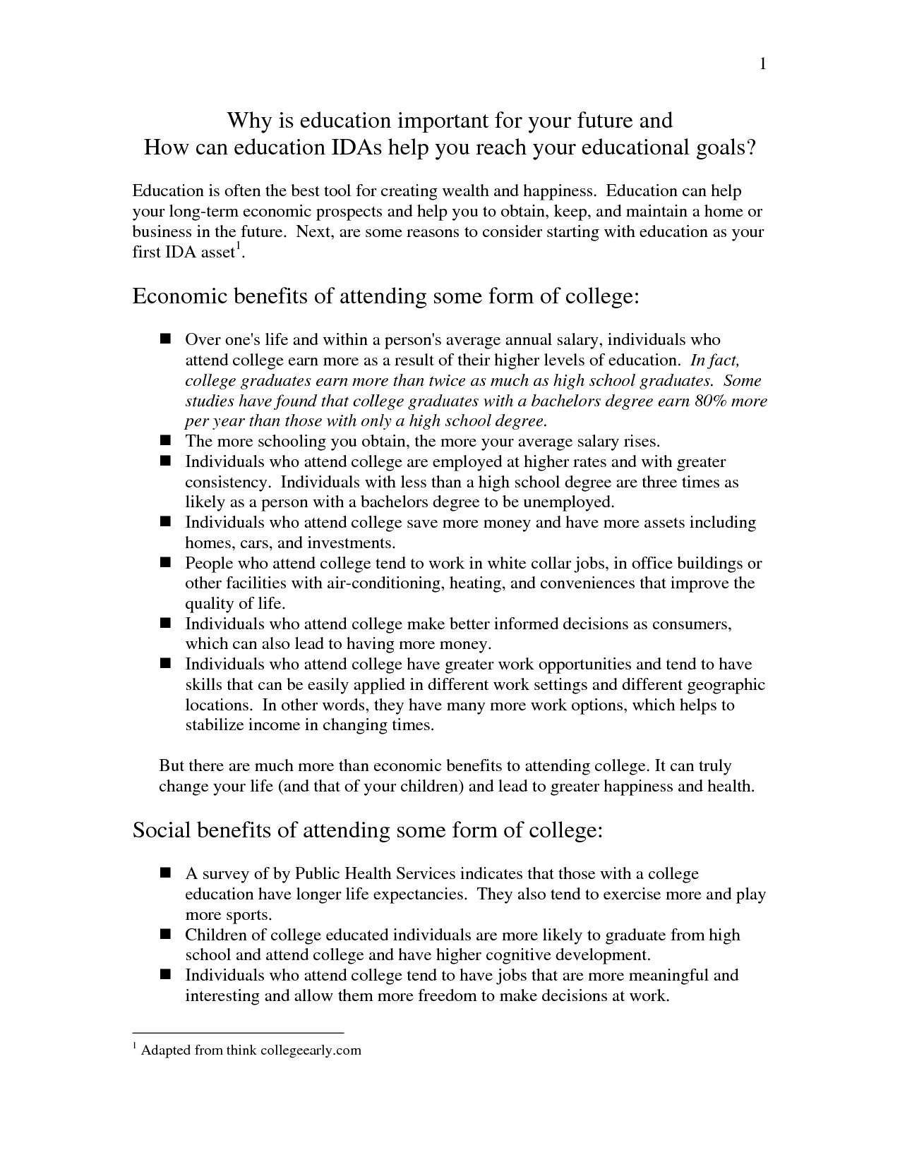College Education Opinion Essay