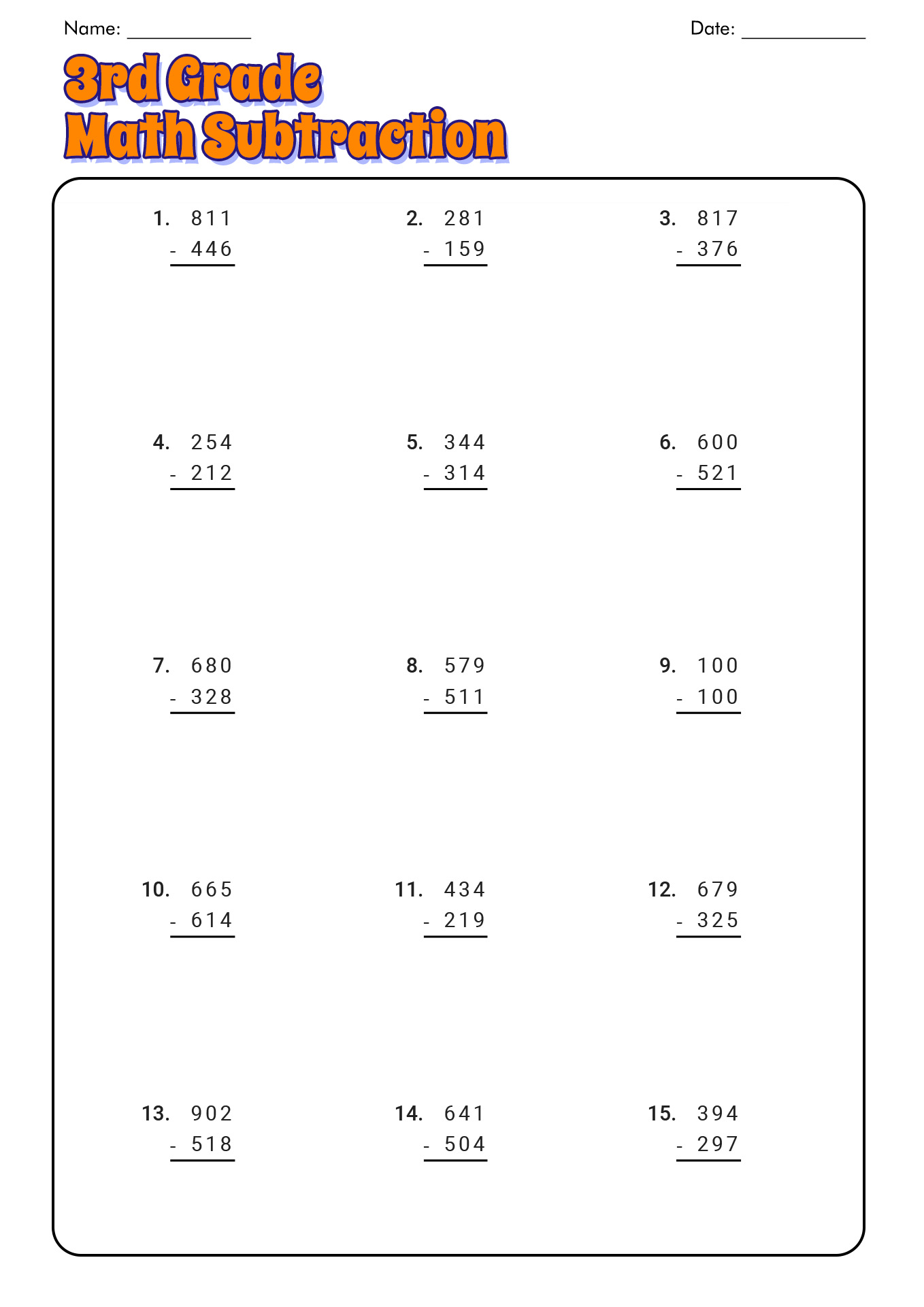 Free Printable Math Worksheet For 4th Grade