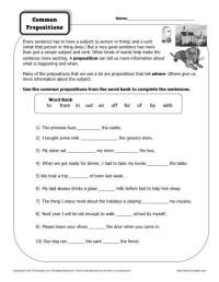 14 Best Images of Printable Preposition Worksheets 6th ...