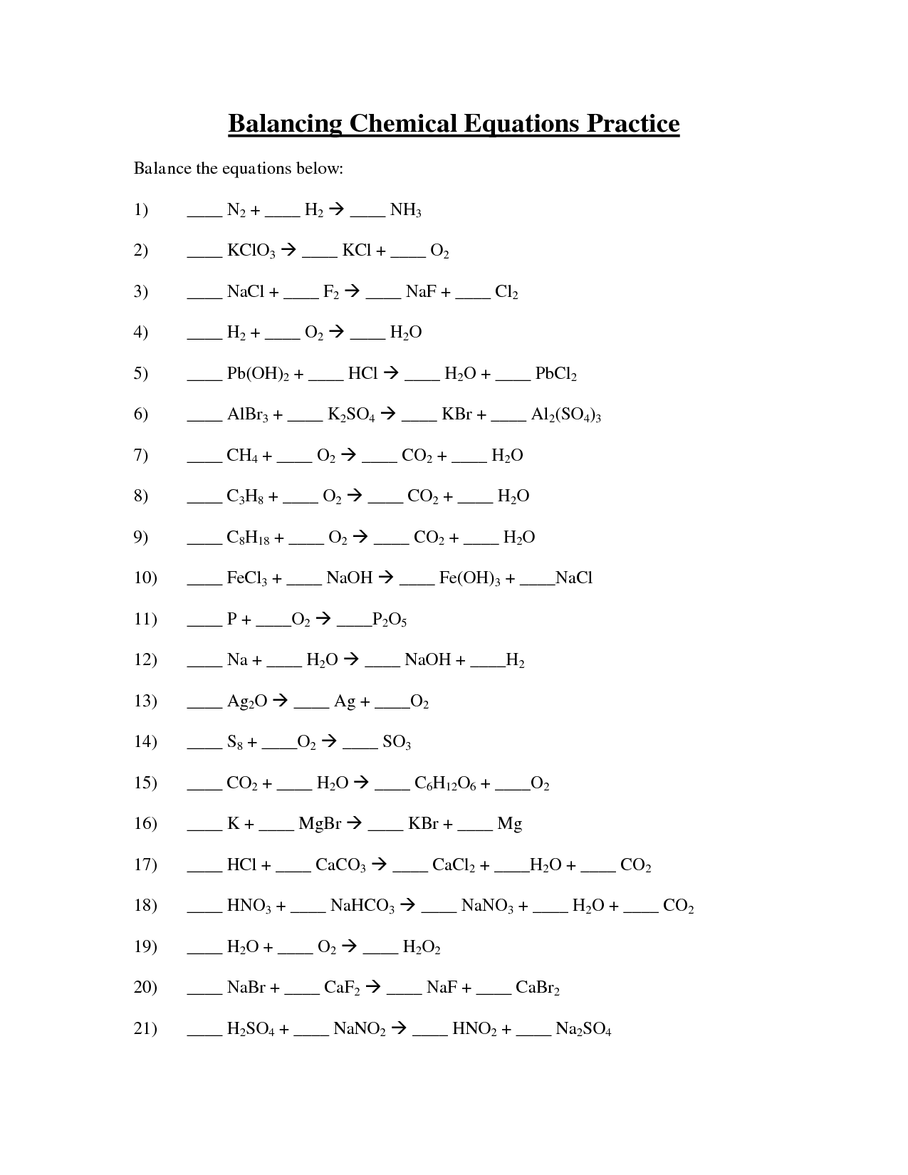 6 Best Images Of Balancing Chemical Equations Worksheet