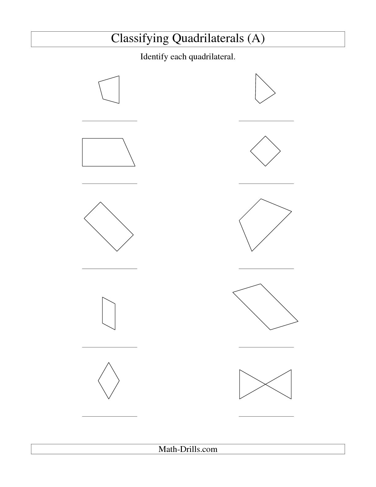 8 Best Images Of Math Quadrilaterals Worksheet