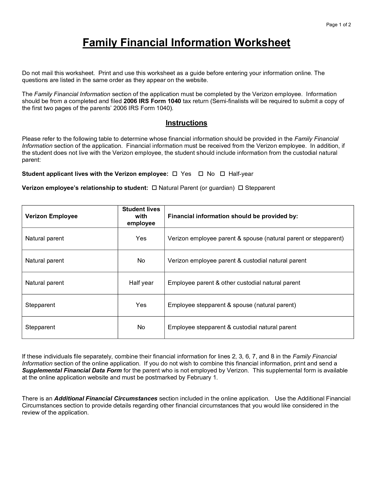 8 Best Images Of Financial Planning Worksheets