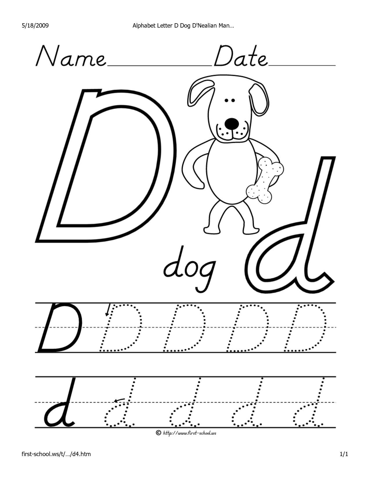 9 Best Images Of Letter D Tracing Worksheets