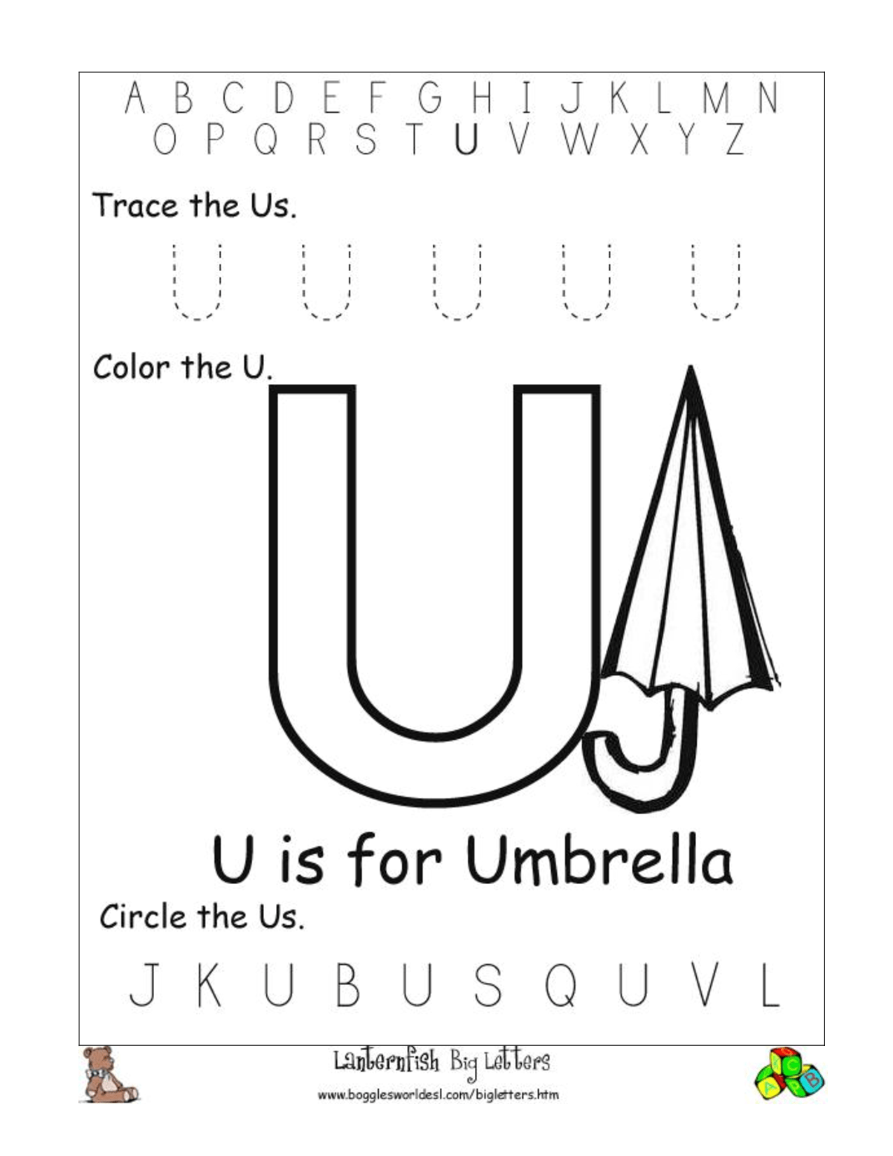 9 Best Images Of Letter U Worksheets For Pre K