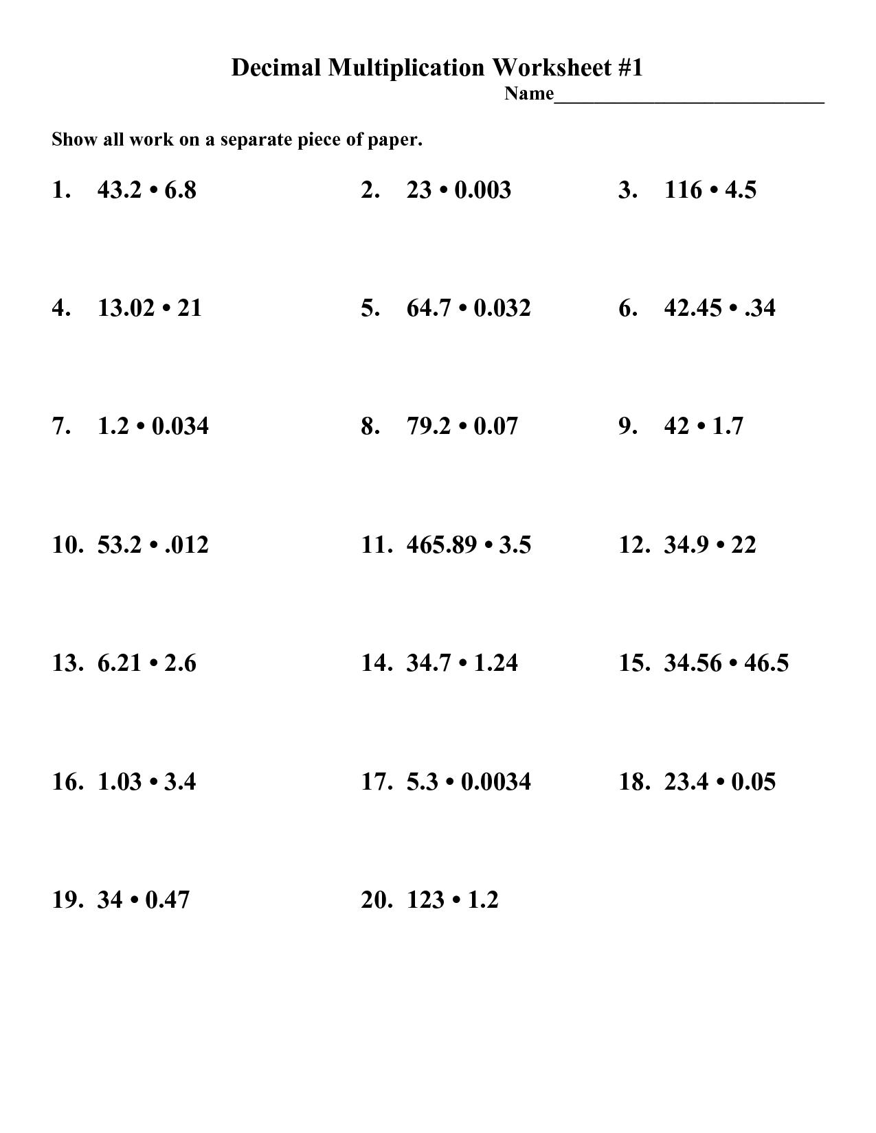 13 Best Images Of Decimal Multiplication Worksheets