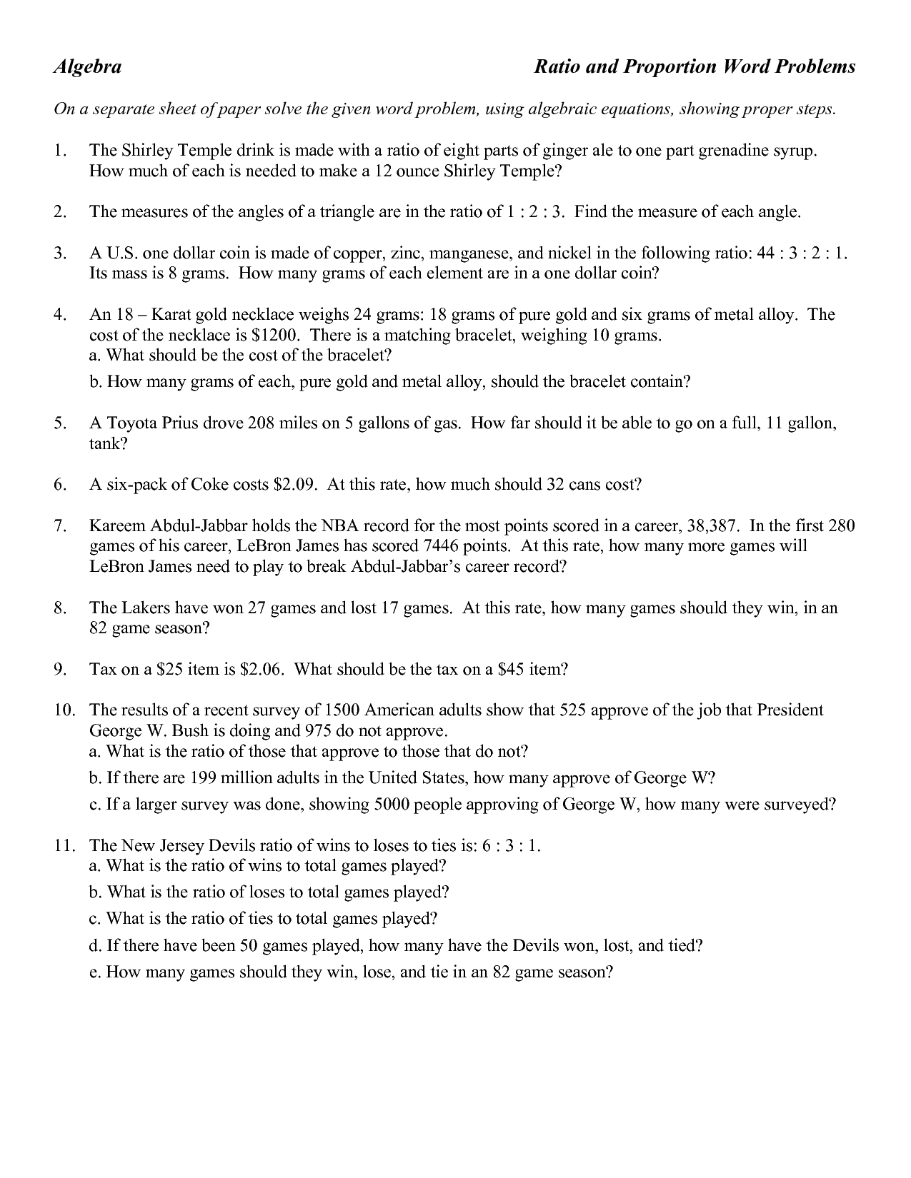 8 Best Images Of Ratios 6th Grade Math Word Problems Worksheet
