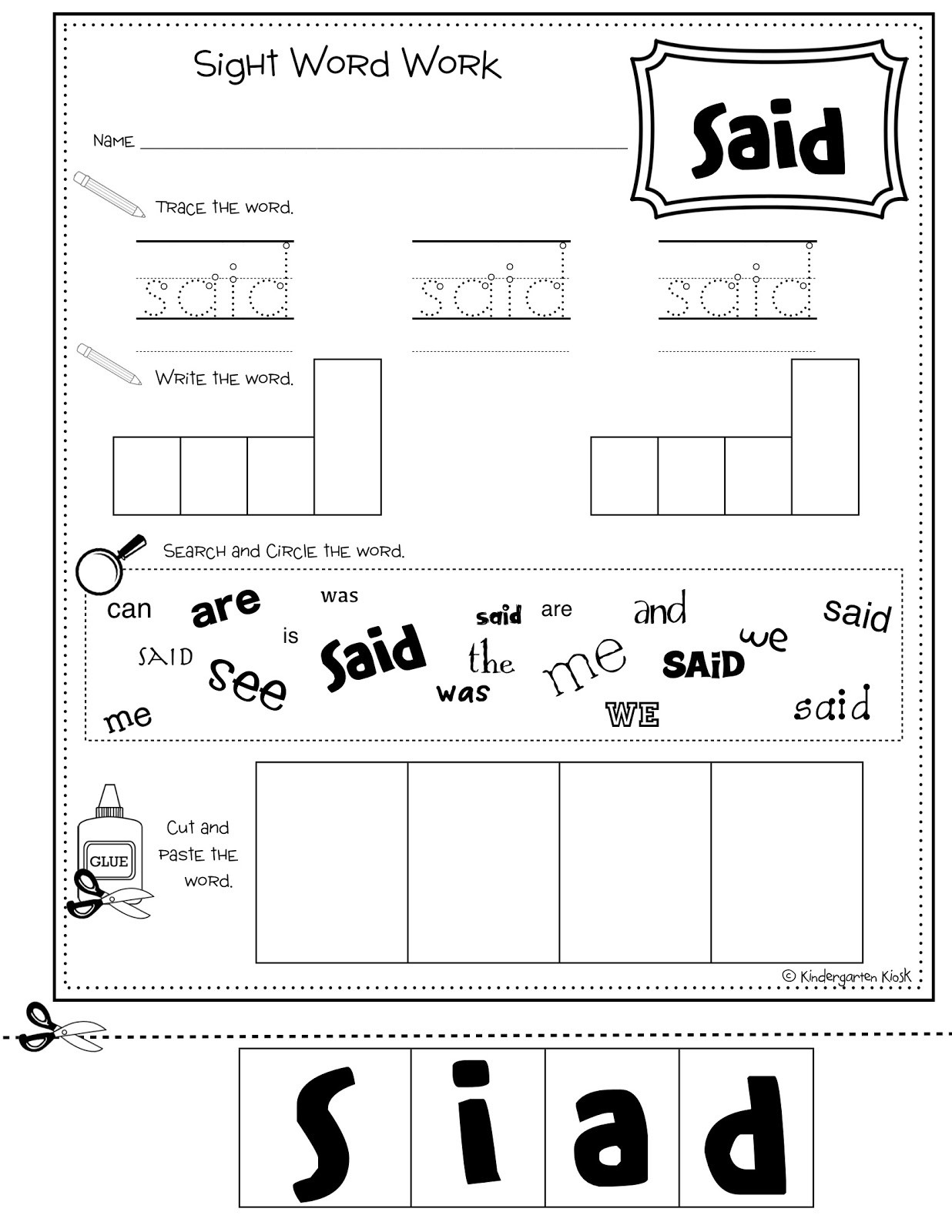 12 Best Images Of Sight Word Worksheets