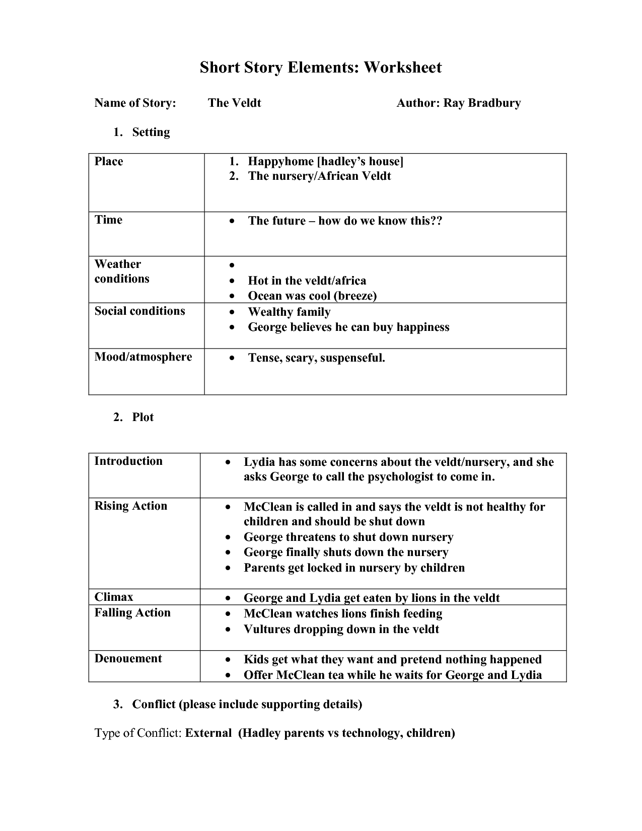 Identify Character Worksheet