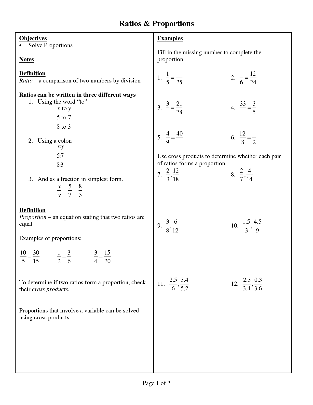 18 Best Images Of Solving Proportions Worksheets 6th Grade