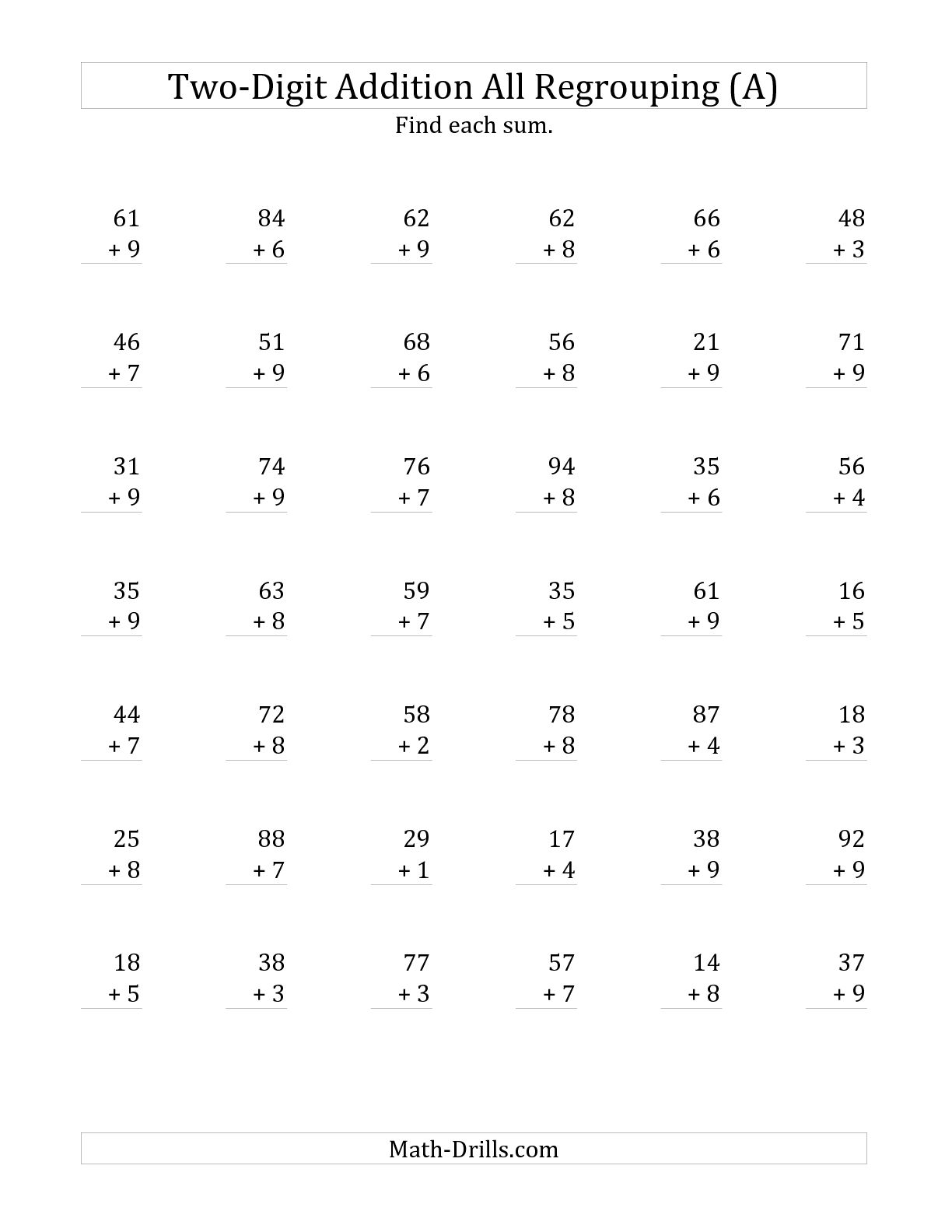 16 Best Images Of Double Digit Addition Printable