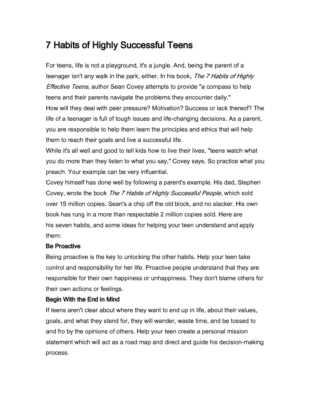 Worksheet 7 Habits Of Highly Effective Teens Worksheets