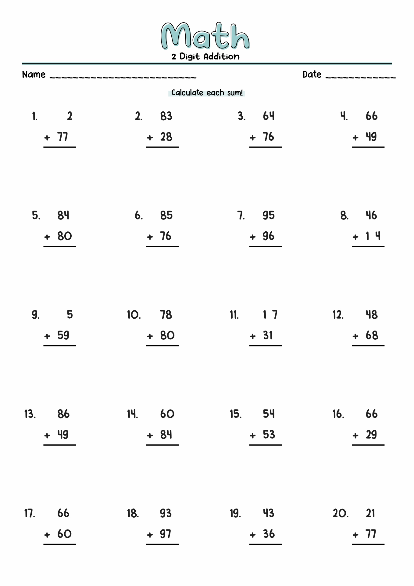 Simple Multiplication Worksheet 100 Problems