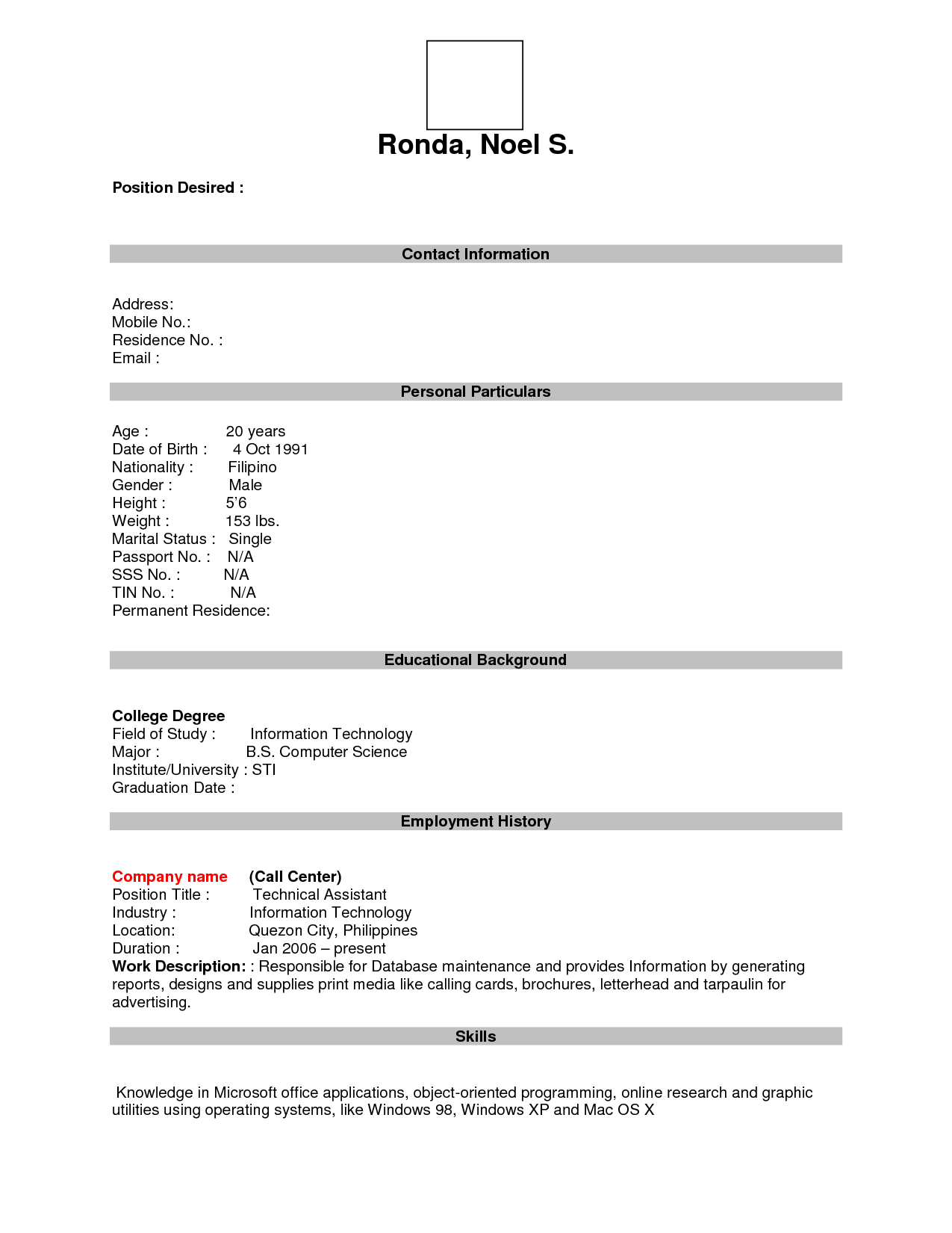 12 Best Images Of Printable Resume Worksheet