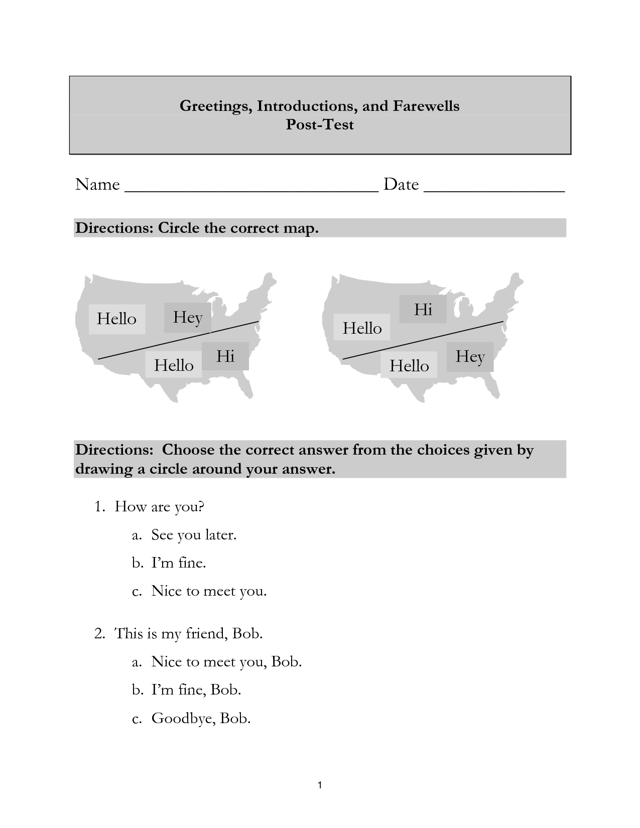 11 Best Images Of French Greetings Worksheet