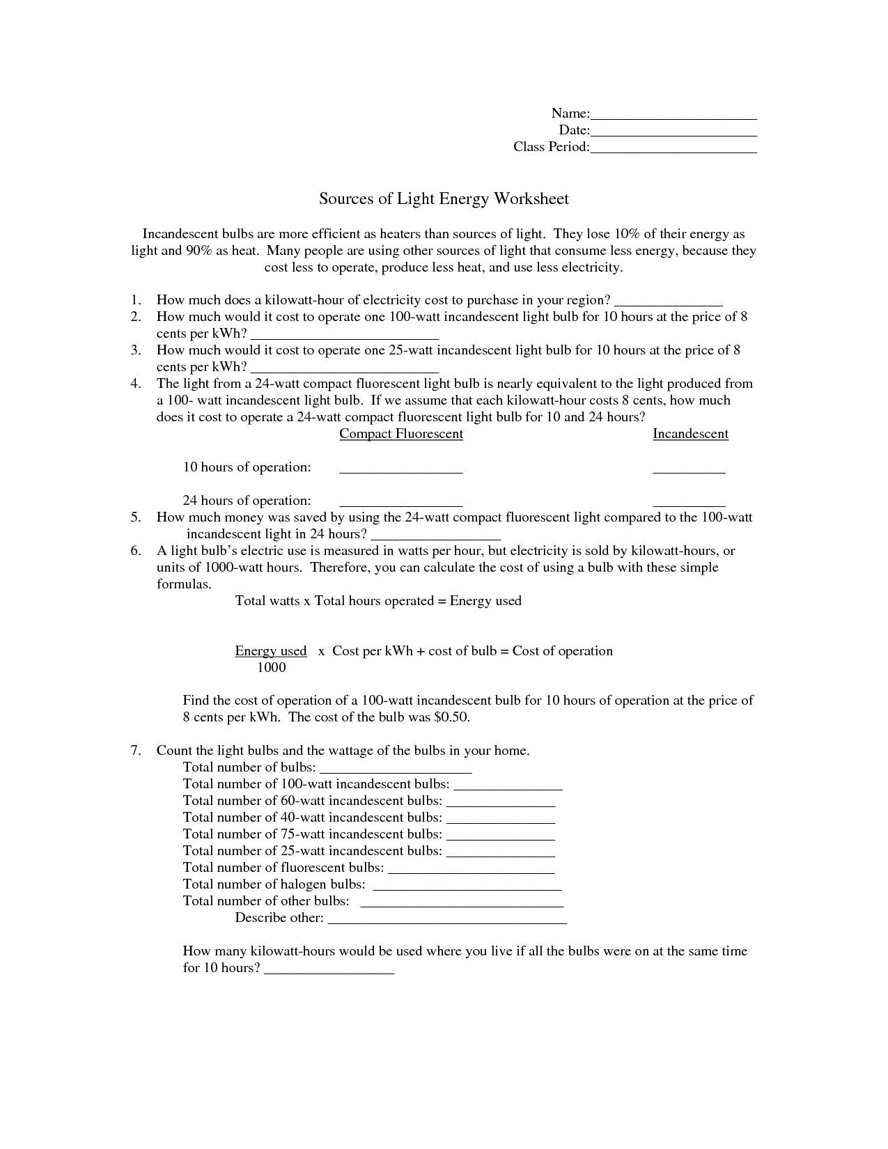 34 Light And Color Worksheet Answers