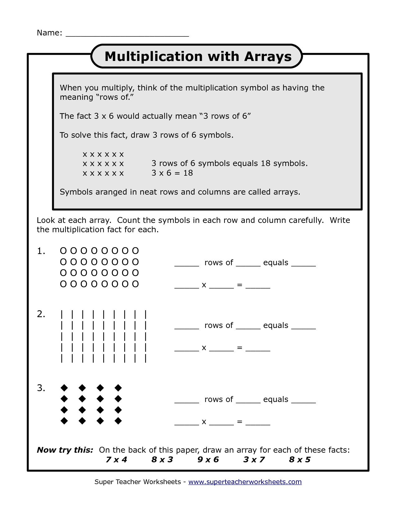 8 Best Images Of Array Multiplication Worksheet