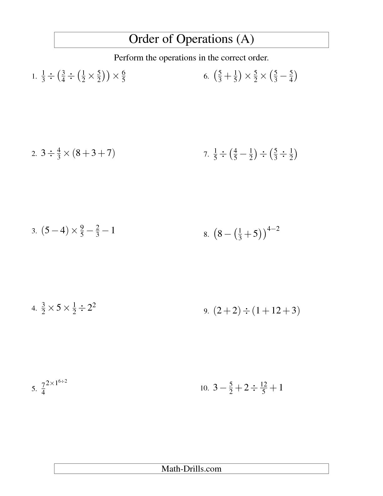 8 Best Images Of Operations With Fractions Worksheets