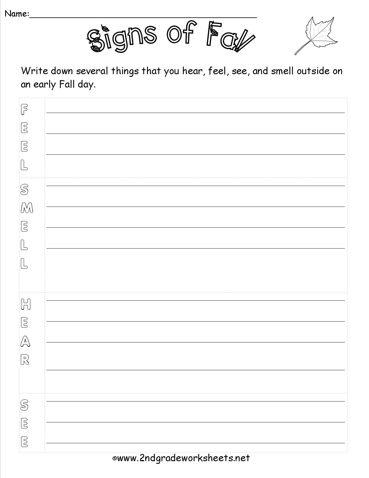 12 Best Images Of Fall Writing Worksheets