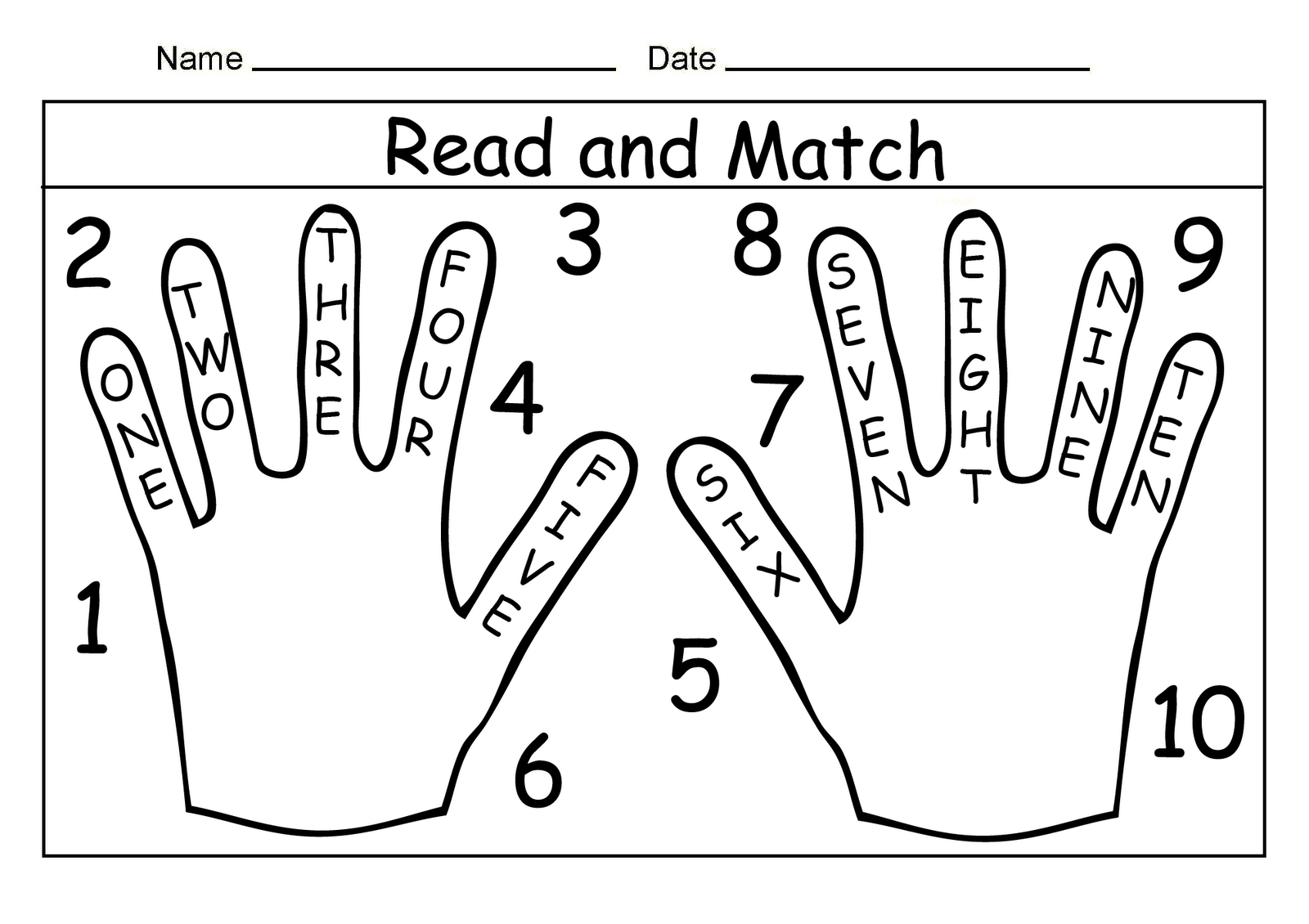 9 Best Images Of Matching Numbers Worksheets With Words