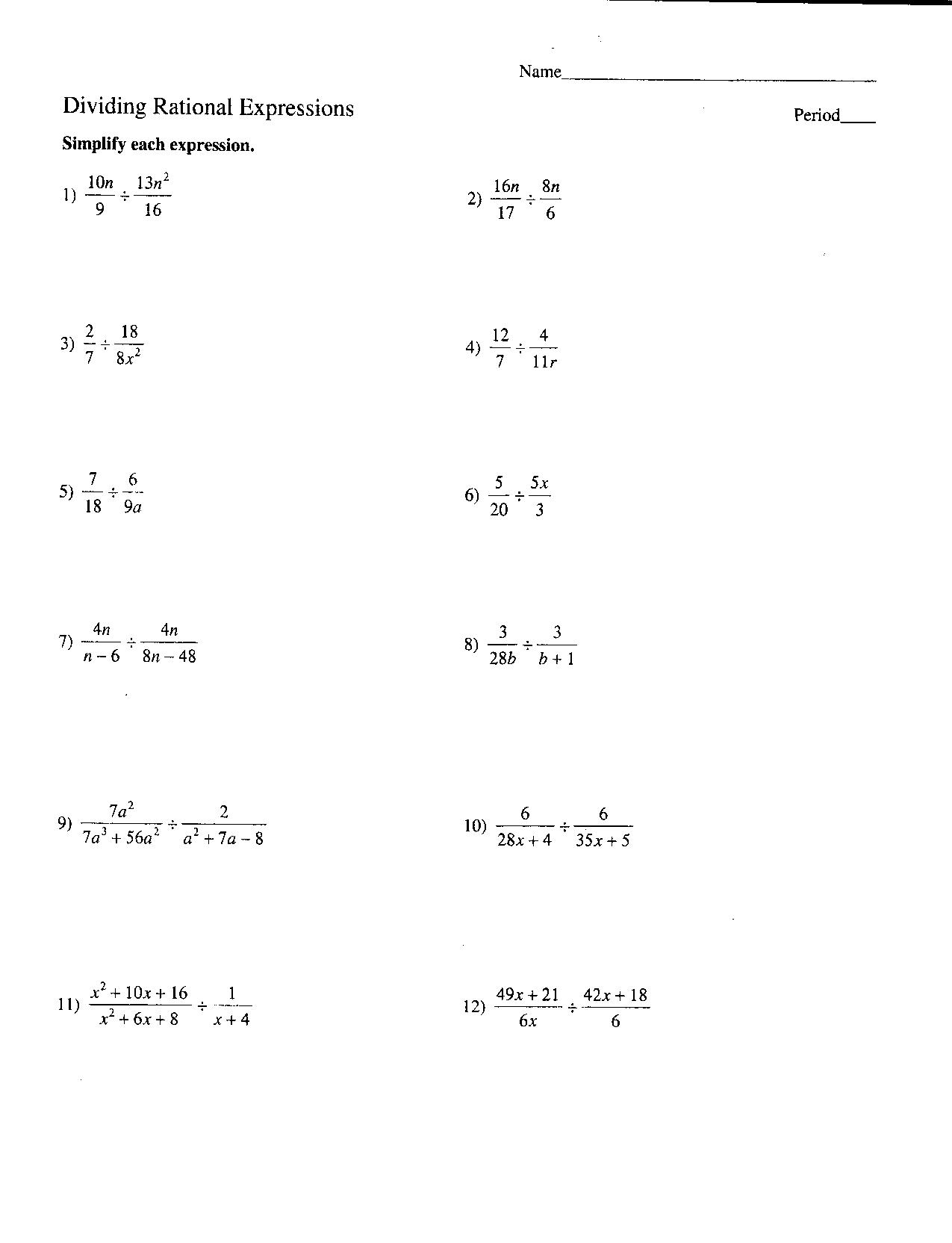 7th Grade Algebra Printable Worksheet Multiplying