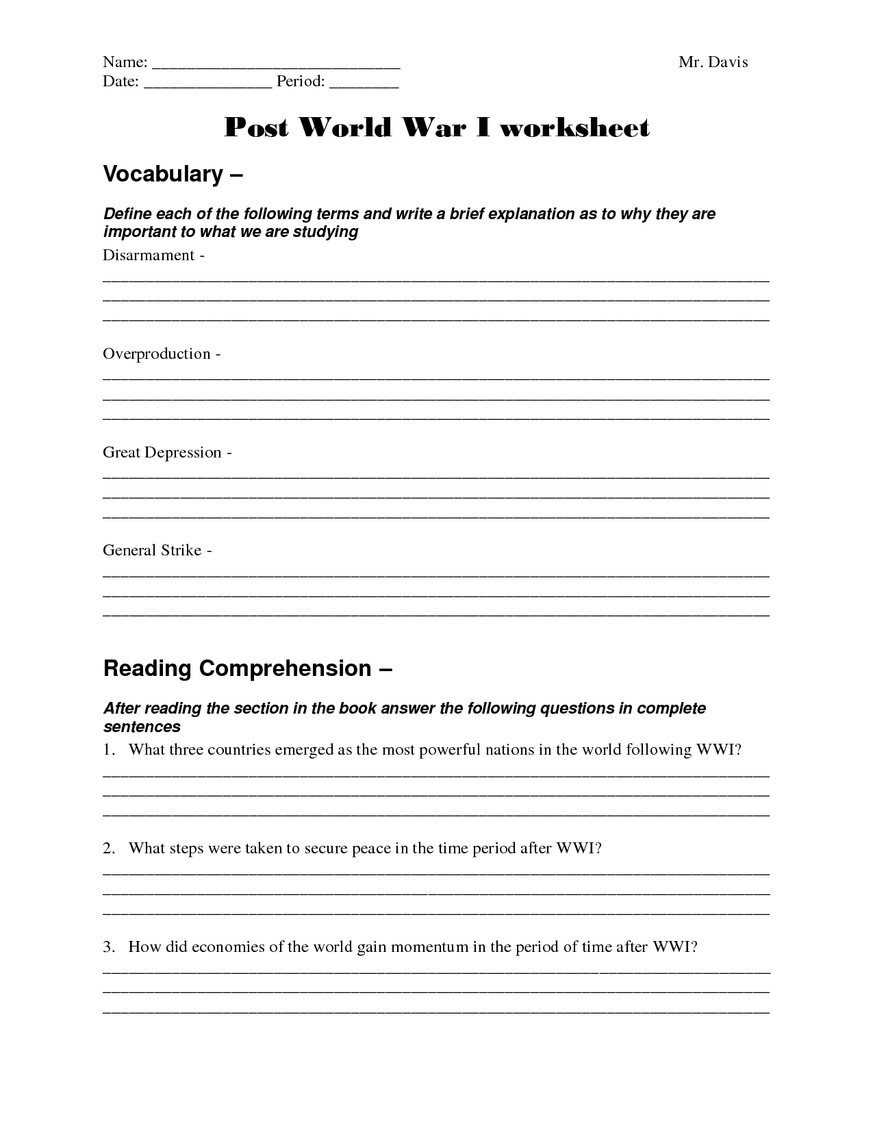 World War 1 43 Worksheet