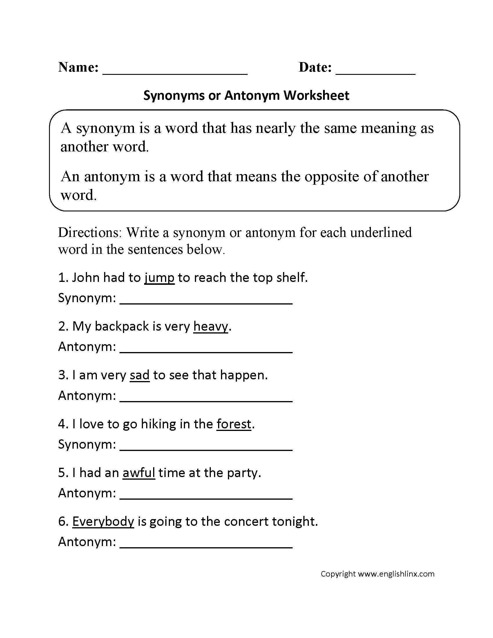 Synonym Worksheet Year 6