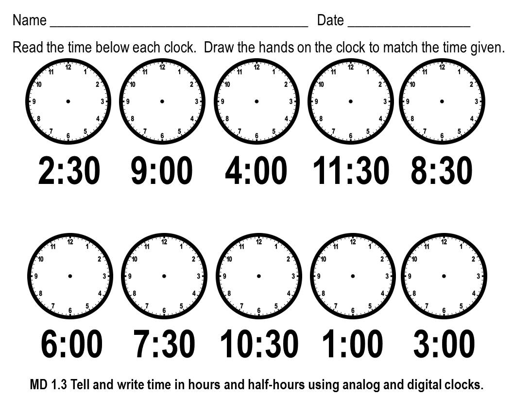 19 Best Images Of The Half Hour Telling Time To Cut And