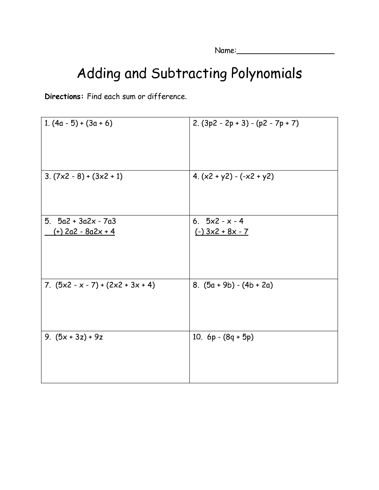 hight resolution of Adding And Subtracting Monomials Worksheet   Printable Worksheets and  Activities for Teachers