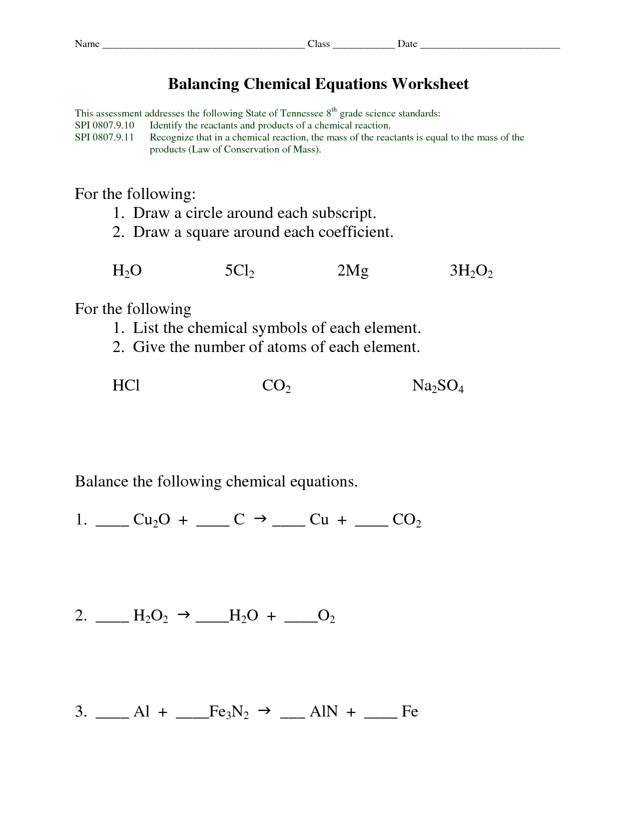 14 Best Images Of Balancing Chemical Equations Worksheet
