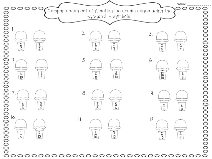 Ordering Fractions With Different Denominators Worksheet