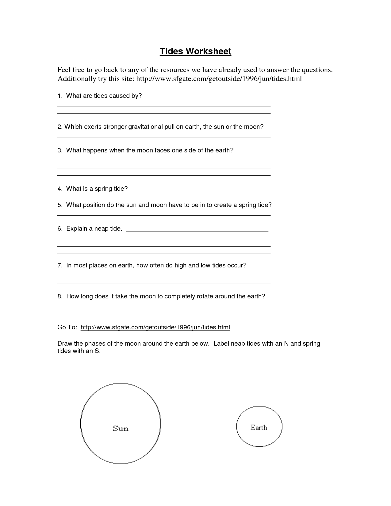 Earth Moon System Worksheet