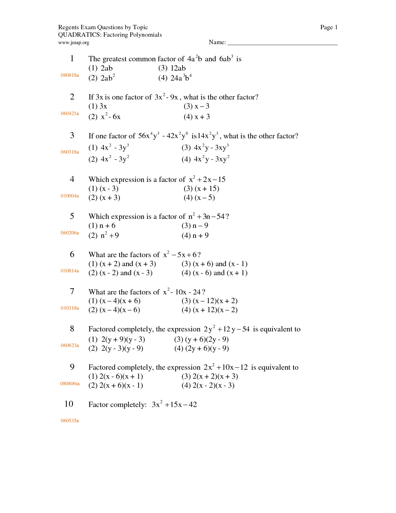 Factoring Polynomial Worksheet