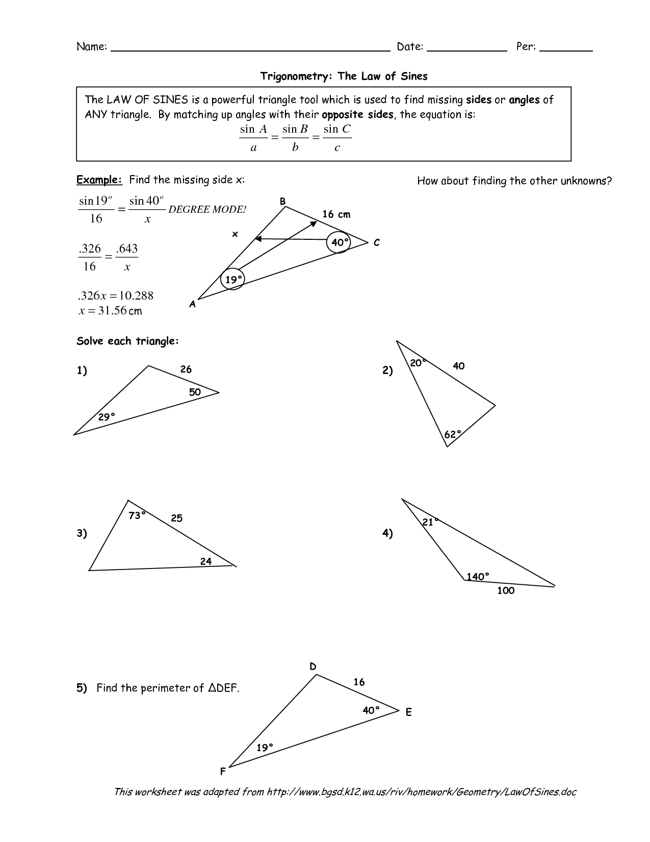 Law Of Sines Ambiguous Case Worksheet Kuta