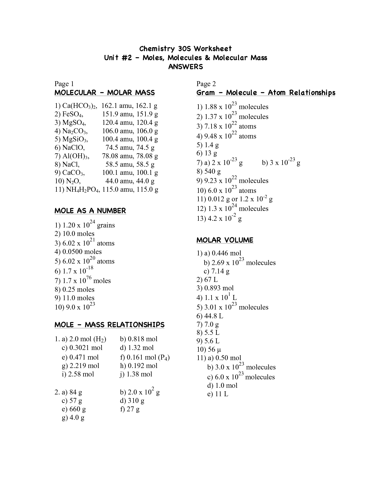 Calculating Molar Mass Worksheet With Answers