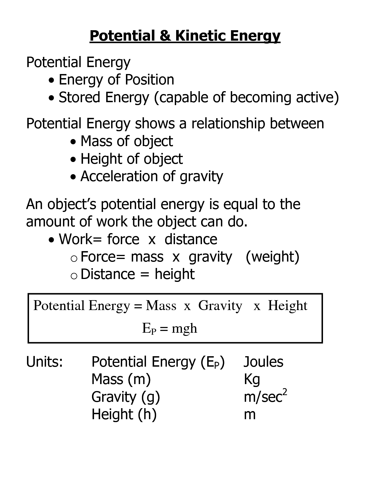 10 Best Images Of Potential Kinetic Energy Worksheet