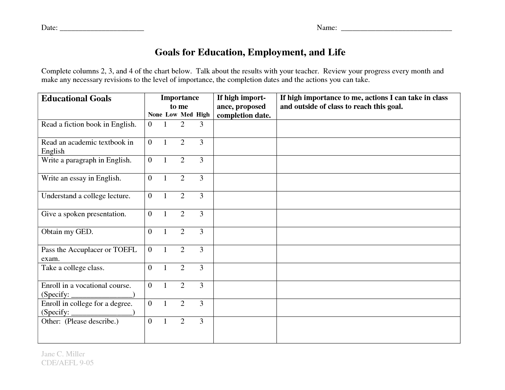 Healthy Goal Setting Printable Worksheet