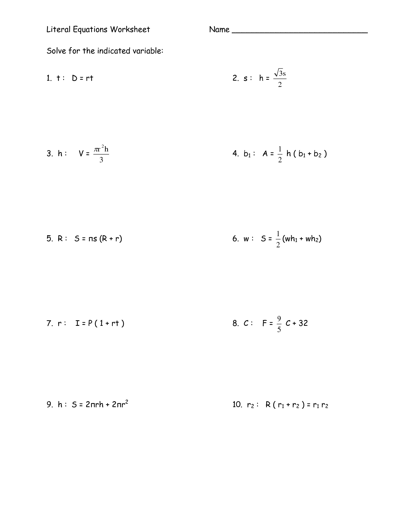 Literal Equations Worksheet For 8th Graders