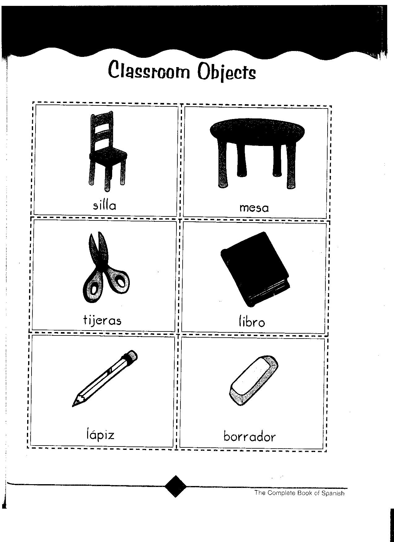 10 Best Images Of Classroom Items In Spanish Worksheet