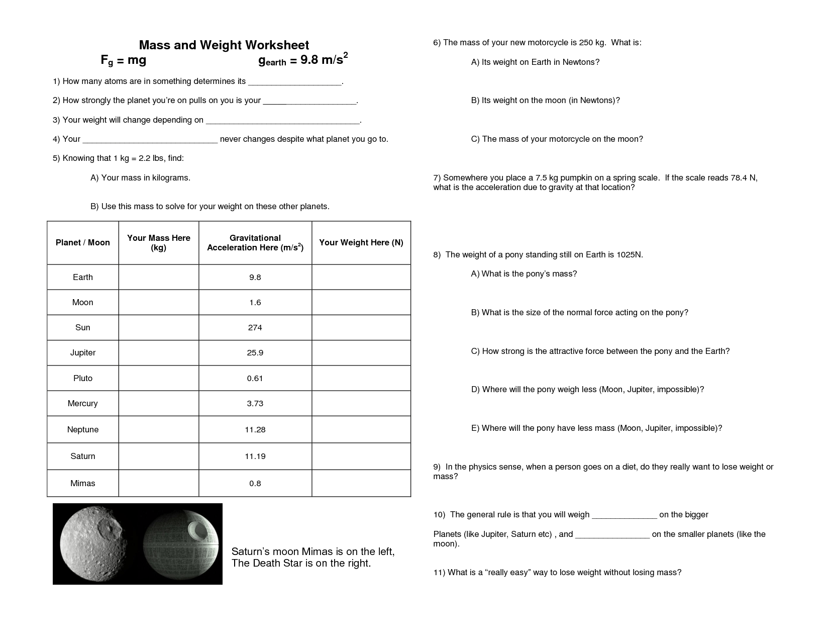 11 Best Images Of Mass Versus Weight Worksheet