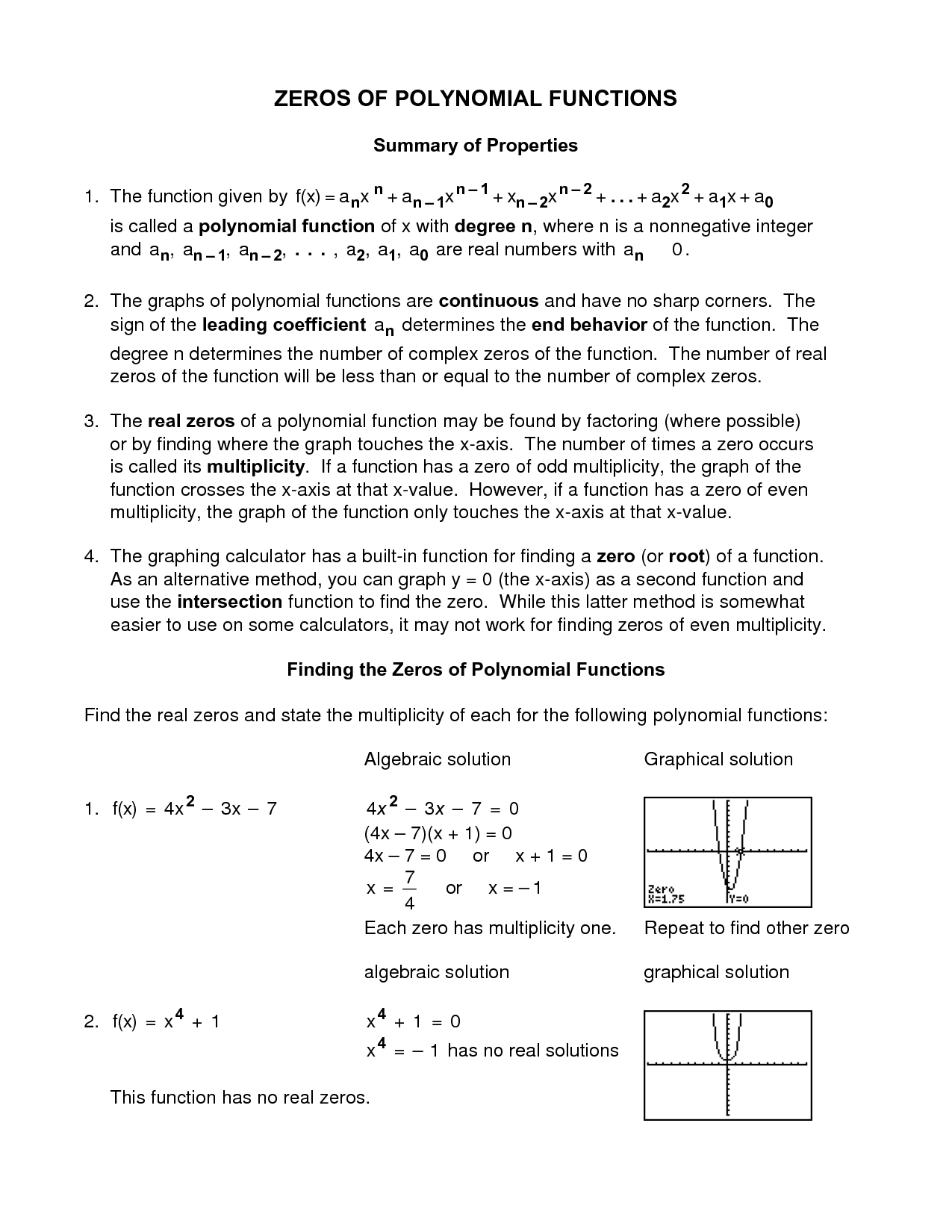 Worksheet 2 3 Zeros Of Polynomials