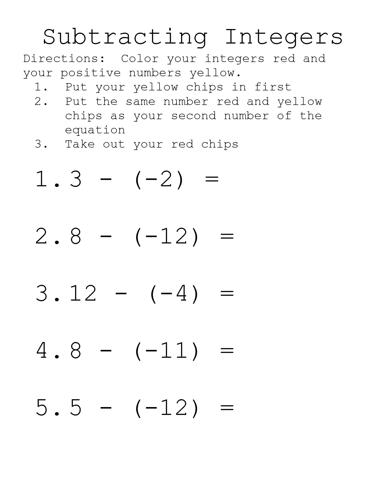 10 Best Images Of Integer Operations Worksheet