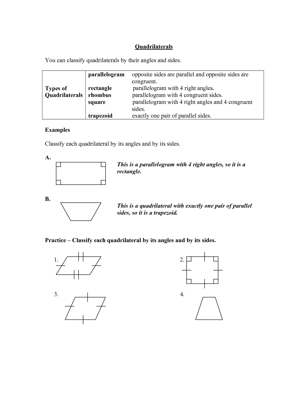 8 Best Images Of Classifying Quadrilaterals Worksheets