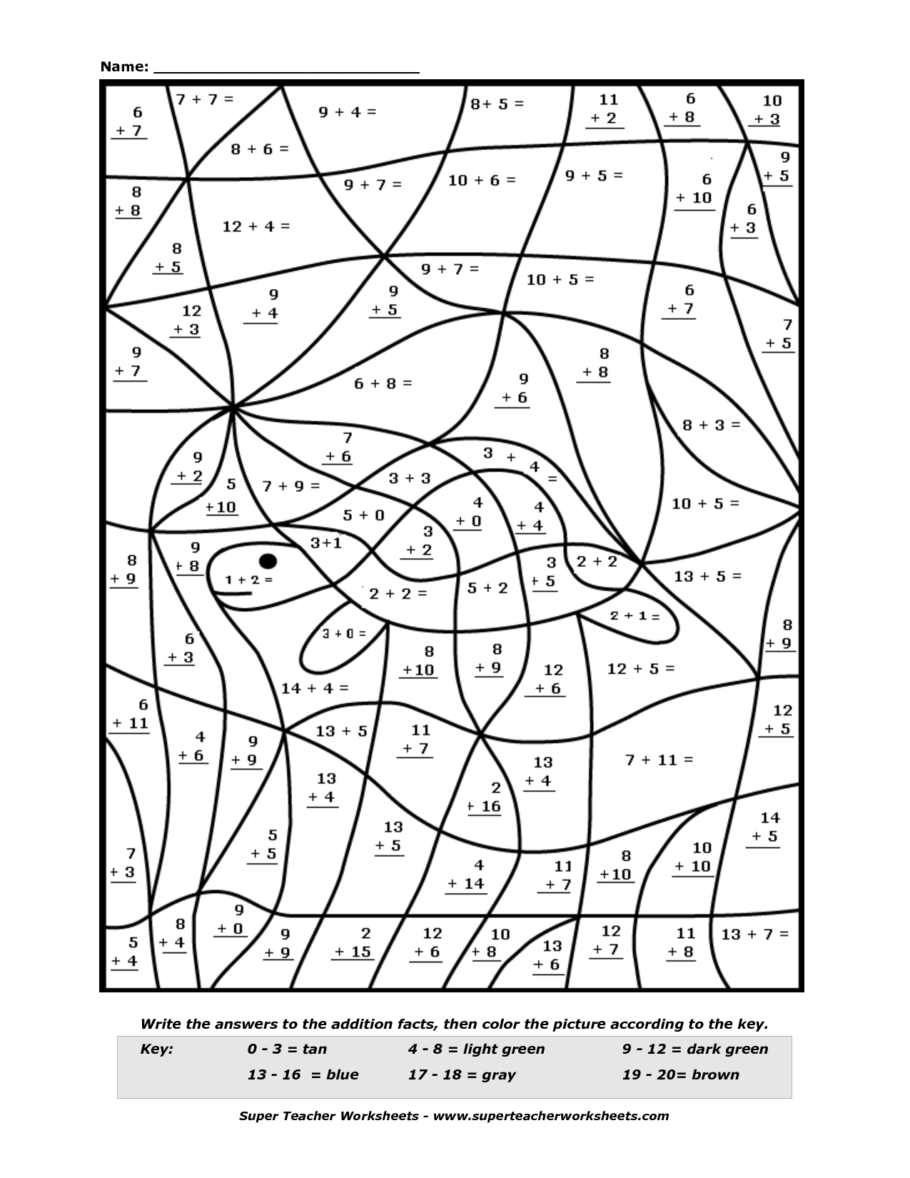 Free Printable Math Coloring Worksheets