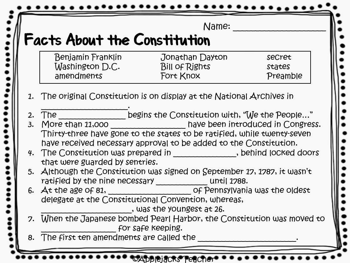 10 Best Images Of Constitution Day Worksheets
