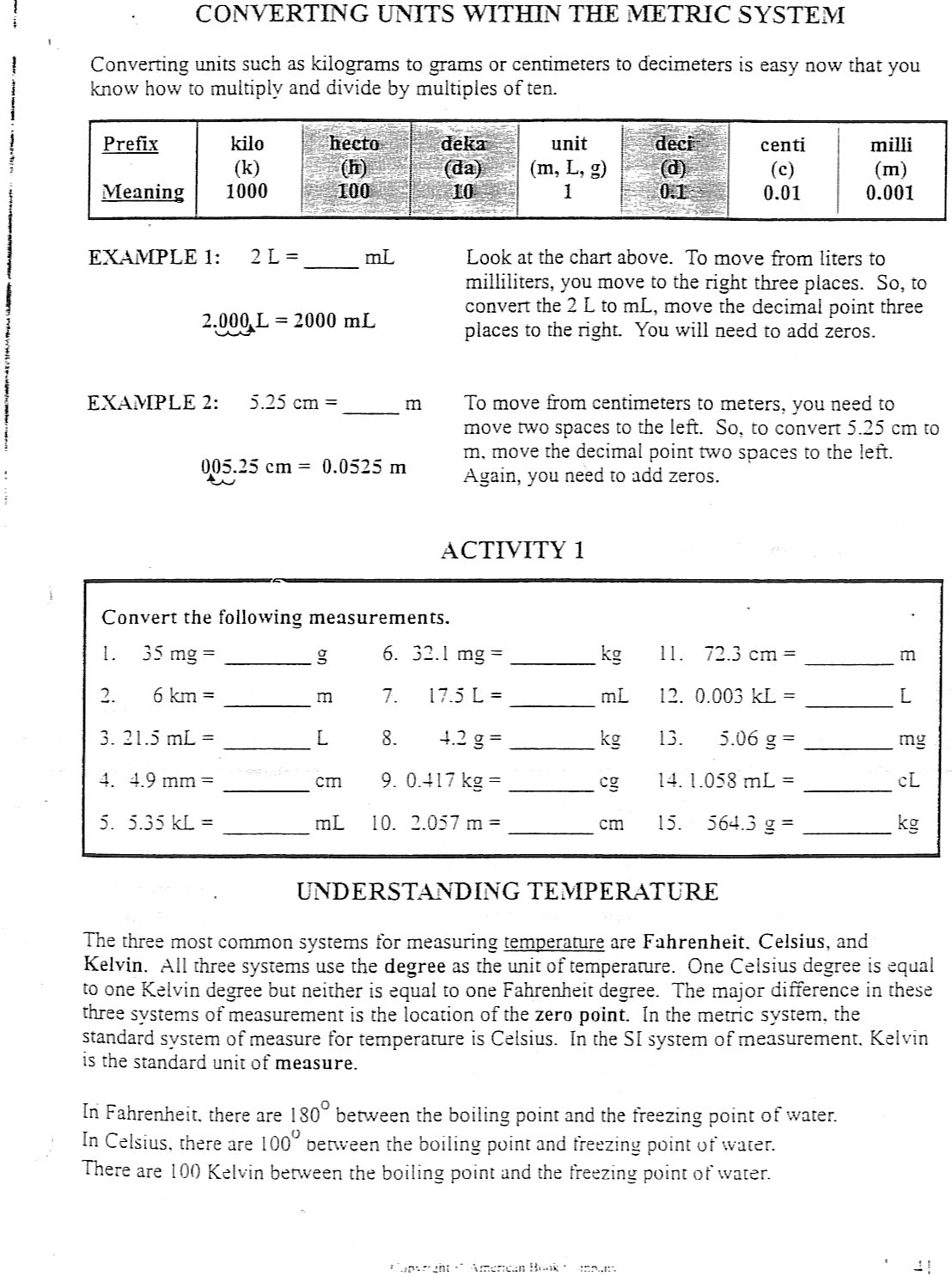31 Metric System Review Worksheet