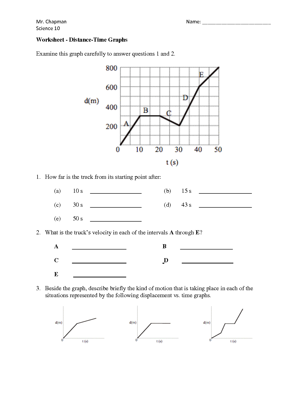 11 Best Images Of Speed Distance Graph Worksheet